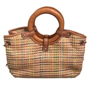 FOSSIL woven straw wooden handle purse
